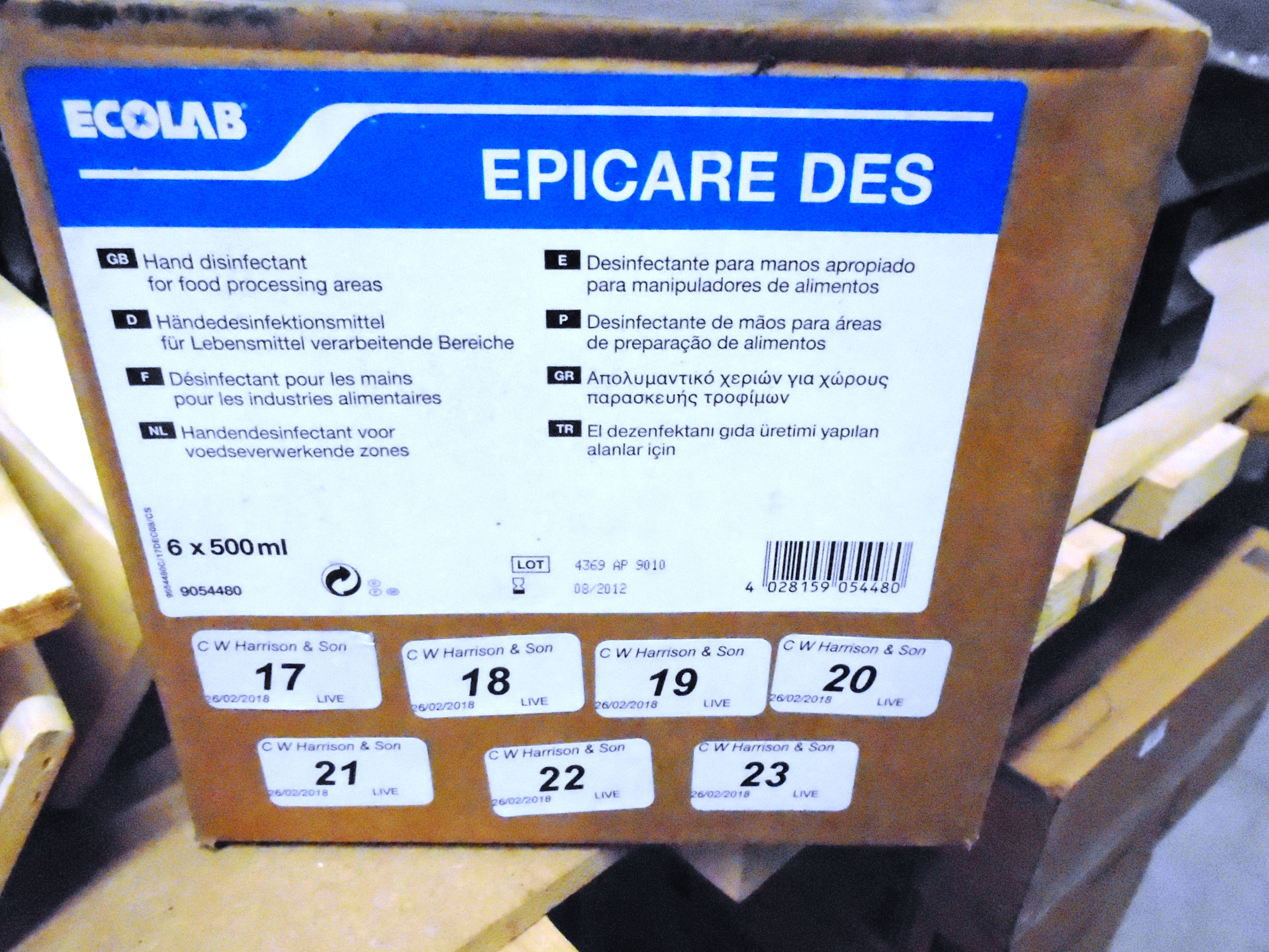 Lot 20 - 120 x Ecolab hand disinfectant for food processing areas (20 x outer boxes)