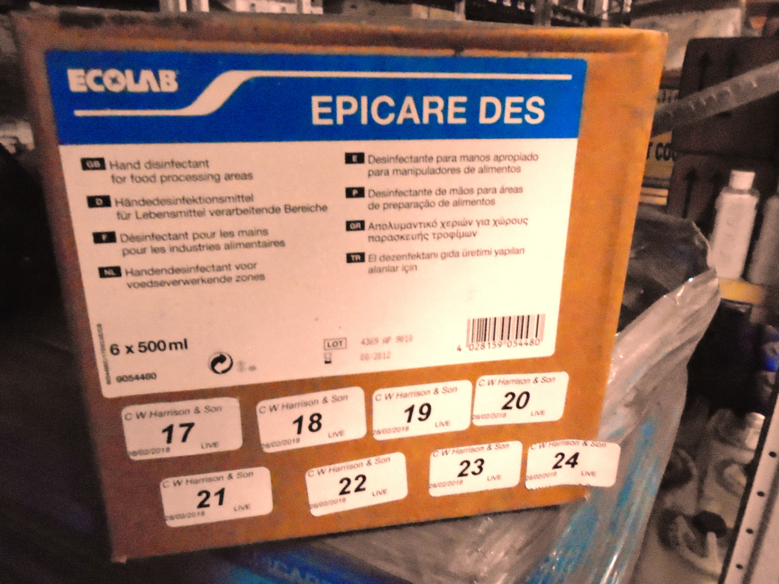 Lot 24 - 240 x Ecolab hand disinfectant for food processing areas (40 x outer boxes)