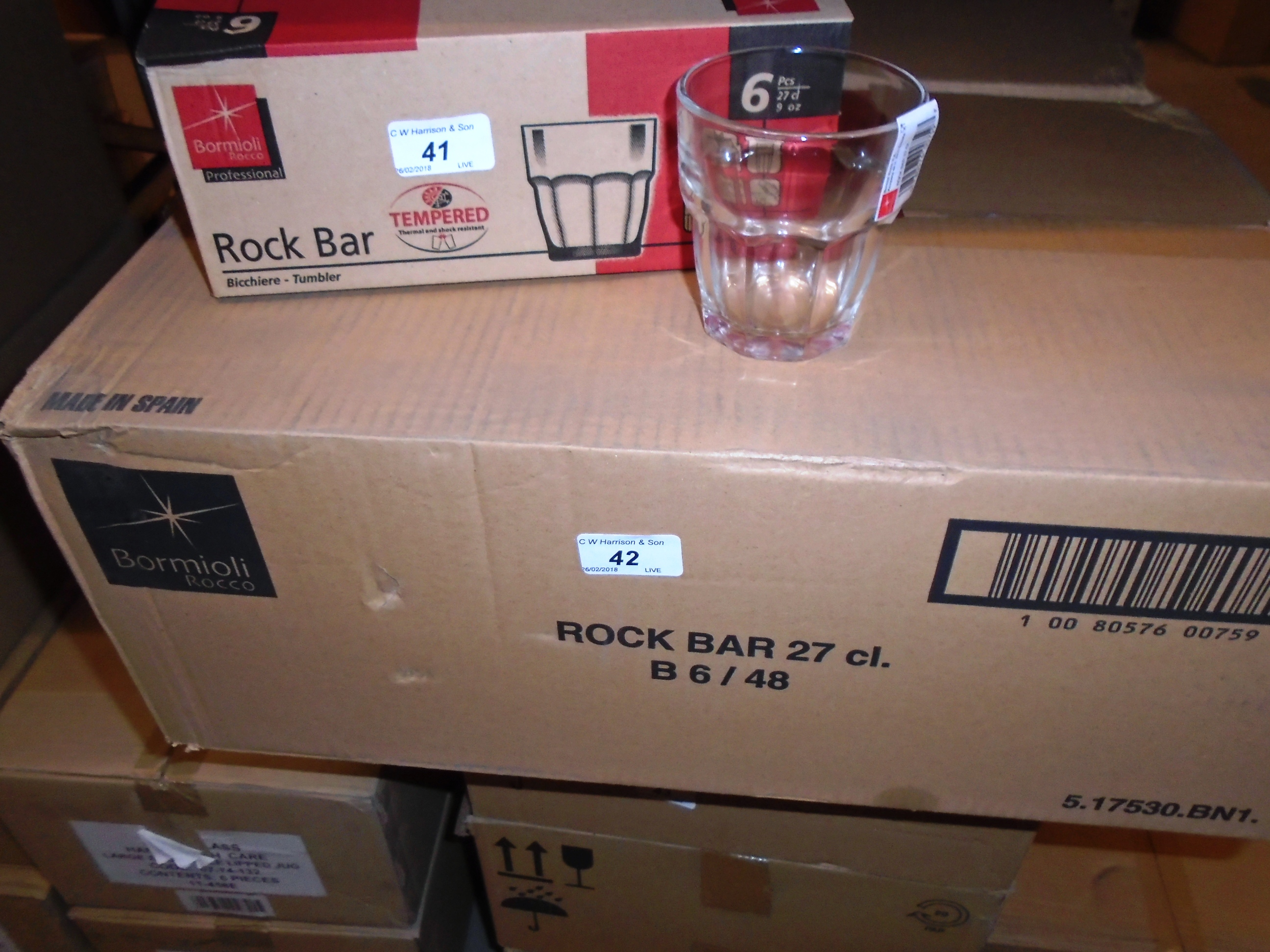 Lot 42 - 96 x Bormioli rock bar glasses - 2 x outer box