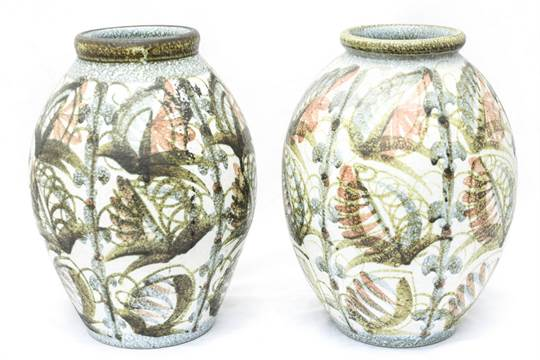 Matched Pair Of Denby Vases Glyn Colledge
