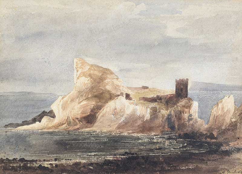 Andrew Nicholl RHA - KINBANE CASTLE, COUNTY ANTRIM - Watercolout Drawing - 8 x 11 inches - Signed