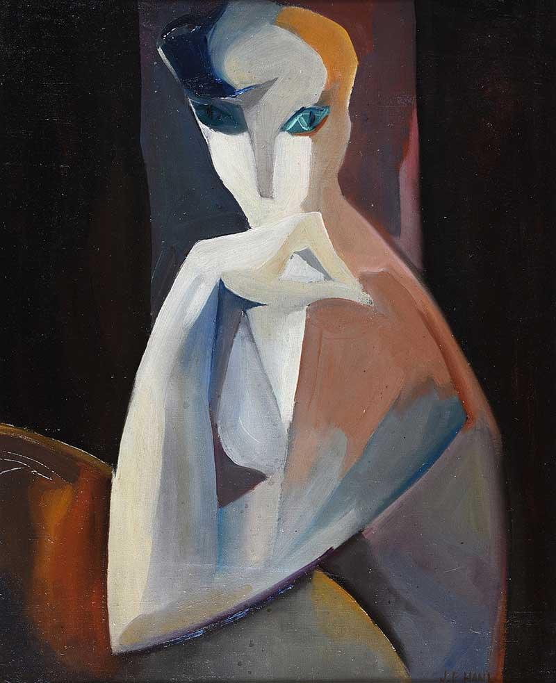 Father Jack P. Hanlon - CUBIST PORTRAIT OF A WOMAN - Oil on Canvas - 24 x 20 inches - Signed