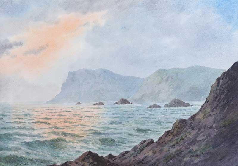 Douglas Alexander RHA - FAIRHEAD, COUNTY ANTRIM - Watercolour Drawing - 15 x 20 inches - Signed