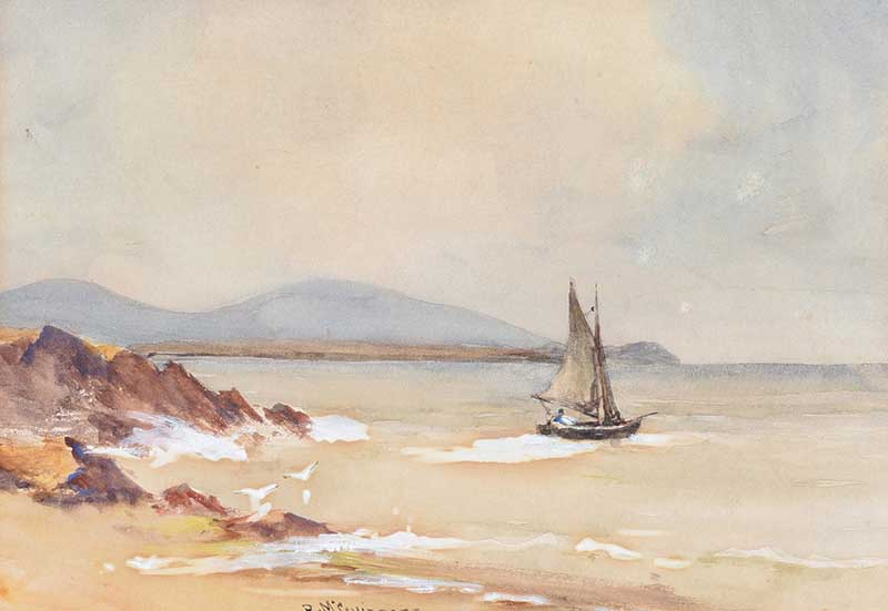 William Bingham McGuinness RHA - OUT SAILING - Watercolour Drawing - 7 x 10 inches - Signed