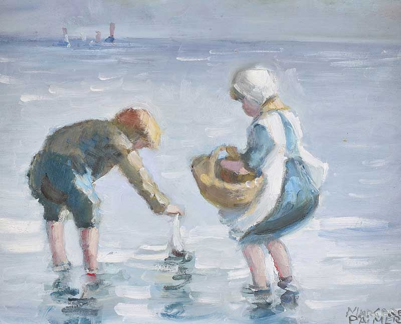Margaret Palmer - SAILING THE BOAT - Oil on Board - 8 x 10 inches - Signed