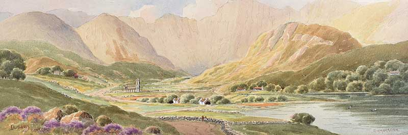 George W. Morrison - DUNLEWEY, DONEGAL - Watercolour Drawing - 7 x 21 inches - Signed