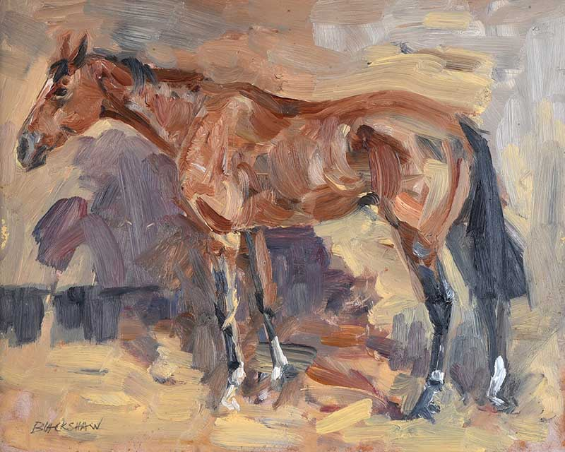 Basil Blackshaw HRHA HRUA - THE CHASER - Oil on Board - 9 x 12 inches - Signed