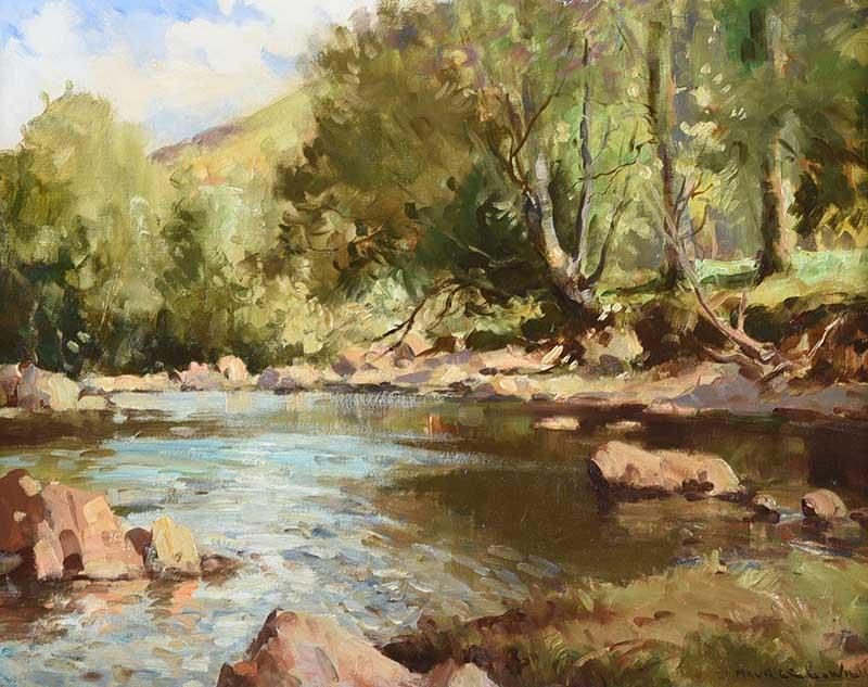 Maurice Canning Wilks ARHA RUA - THE DUN RIVER, GLENDUN, COUNTY ANTRIM - Oil on Canvas - 16 x 20
