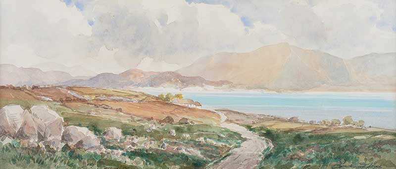 Rowland Hill, RUA - DUNLEWEY, DONEGAL - Watercolour Drawing - 7 x 15 inches - Signed