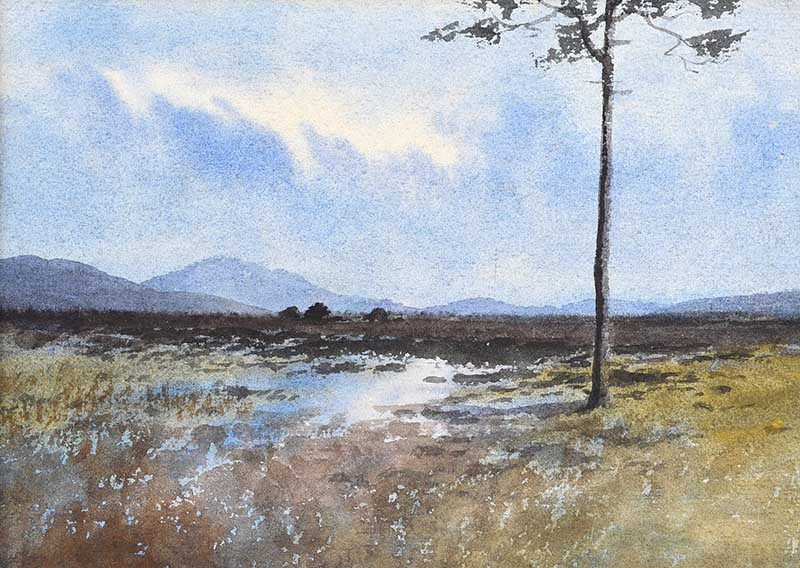 William Percy French - TREE, TURF STACKS & BOGLANDS, CONNEMARA - Watercolour Drawing - 6.5 x 9