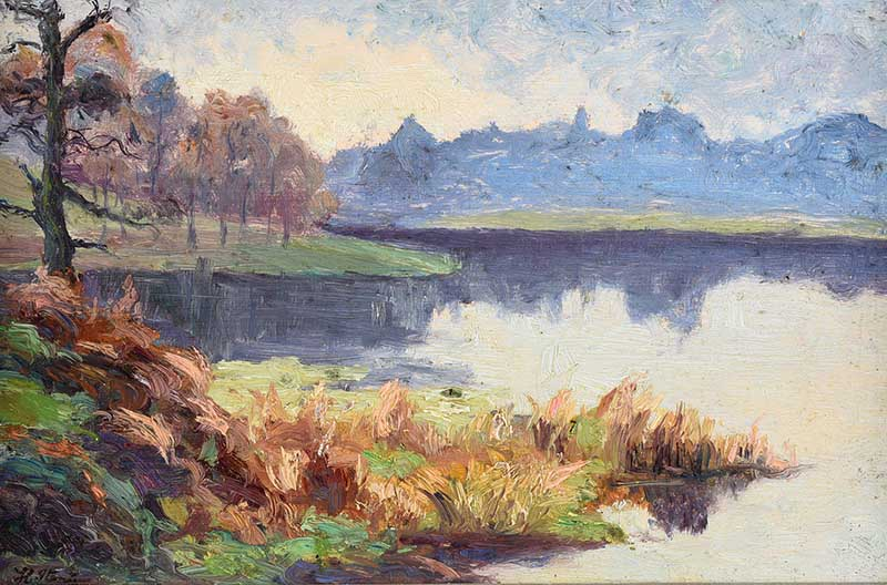 Hans Iten RUA - REFLECTIONS BY THE WATER, BELVOIR PARK - Oil on Board - 6 x 9 inches - Signed