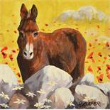 Ronald Keefer - DONKEY BY THE STONE WALL - Oil on Board - 12 x 12 inches - Signed