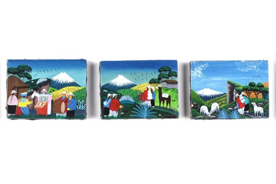 Orlando Quindigalle - FOLK ART, PERU - Triptych Oil on Canvas - 3.5 x 4.5 inches - Signed Verso