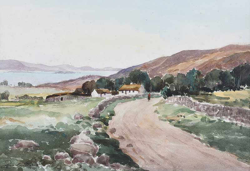 Rowland Hill, RUA - ROAD BY THE LOUGH - Watercolour Drawing - 10 x 14.5 inches - Signed