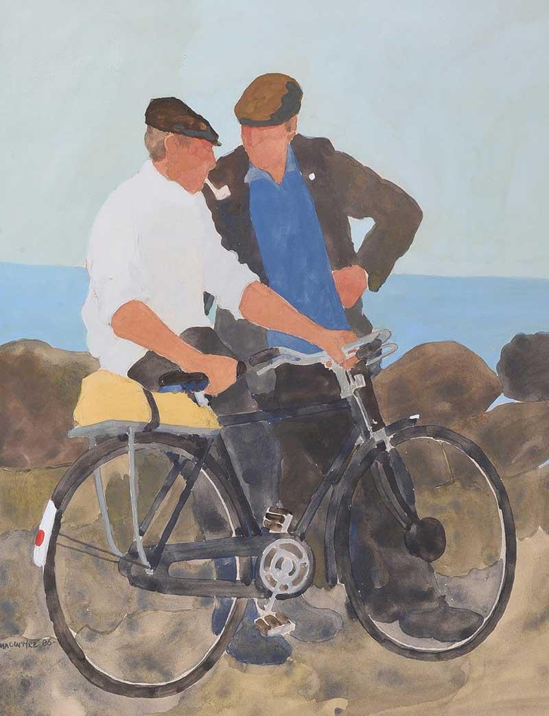 James Macintyre RUA - CONVERSATION - Watercolour Drawing - 17 x 13 inches - Signed