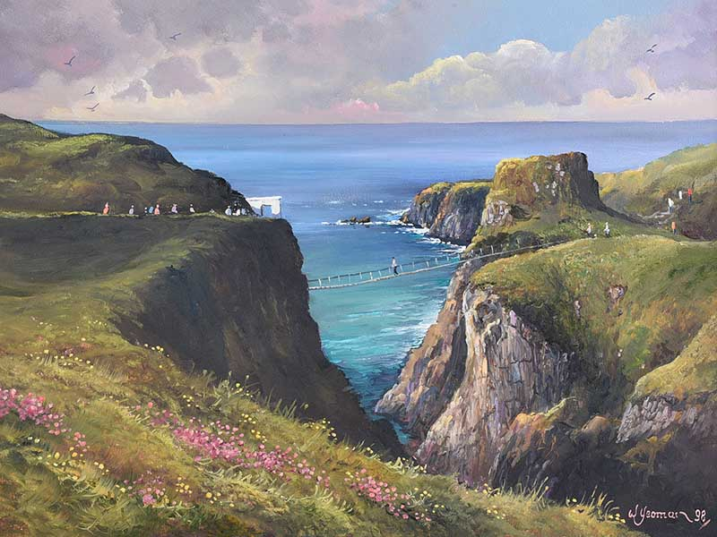 William Yeaman - CARRICK A REDE ROPE BRIDGE, COUNTY ANTRIM - Oil on Canvas - 18 x 24 inches -