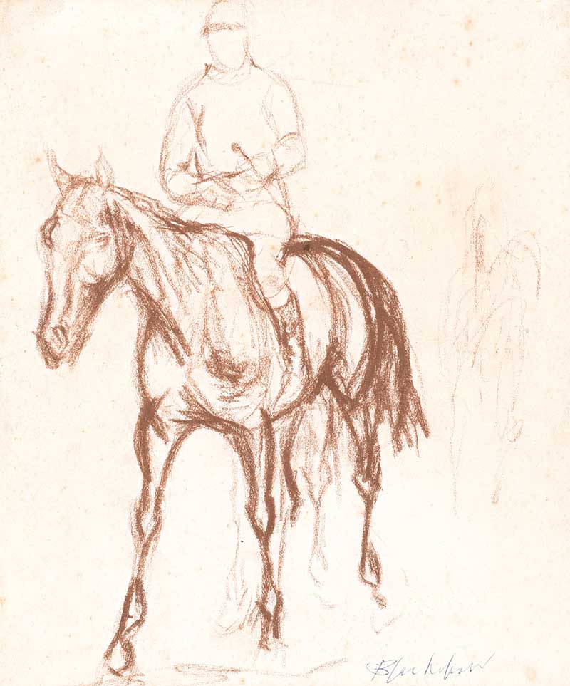 Basil Blackhaw HRHA HRUA - MICHAEL O'REILLY AFTER THE POINT TO POINT - Pastel on Paper - 9 x 8