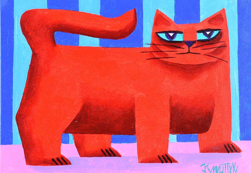 Graham Knuttel - RED CAT - Oil on Canvas - 10 x 13.5 inches - Signed