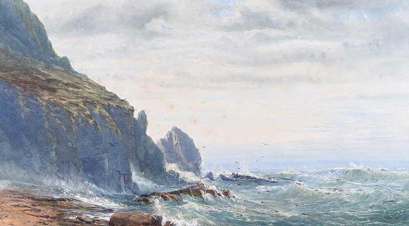 John Faulkner, RHA - SHORE AT ACHILL - Watercolour Drawing - 17 x 30 inches - Signed