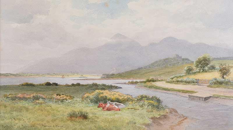 Joseph William Carey RUA - MURLOUGH BAY, DUNDRUM - Watercolour Drawing - 12 x 21 inches - Signed