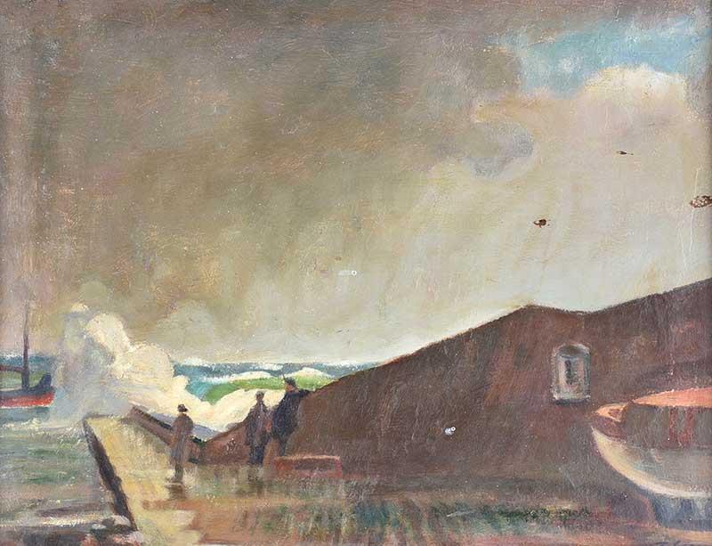 Tom Carr HRHA RUA RWS - THE PIER - Oil on Canvas - 14 x 18 inches - Signed