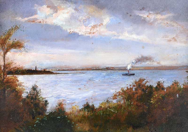 Sir Robert Ponsonby Staples Bt, RBS - STEAM BOAT ON THE FOYLE - Oil on Board - 9 x 13 inches -
