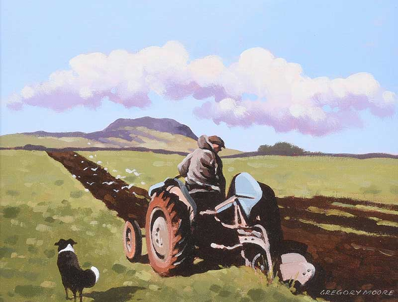 Gregory Moore - PLOUGHING NEAR SLEMISH - Oil on Board - 10 x 14 inches - Signed