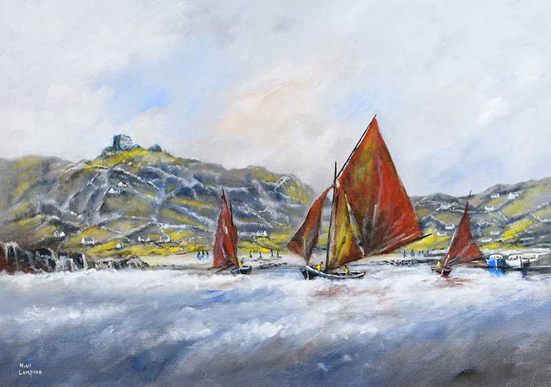 Niall Campion - GALWAY HOOKERS AT INNISHEER, COUNTY GALWAY - Oil on Canvas - 20 x 28 inches -