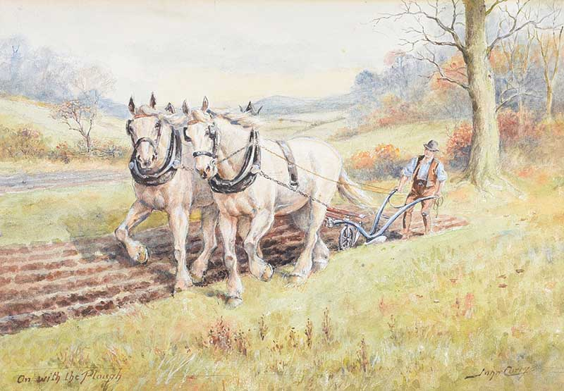 John Carey - ON WITH THE PLOUGH - Watercolour Drawing - 10 x 14 inches - Signed