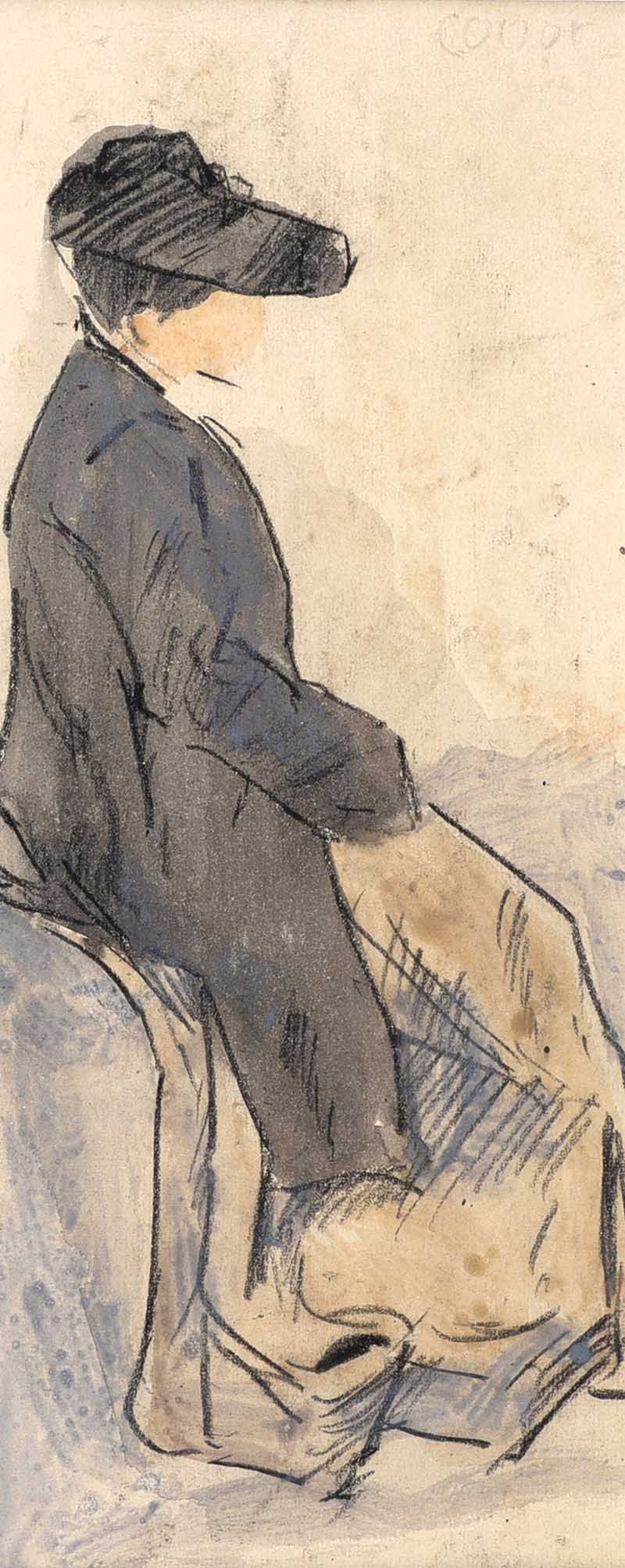William Conor RHA RUA - SEATED LADY - Watercolour Drawing - 8 x 3 inches - Signed