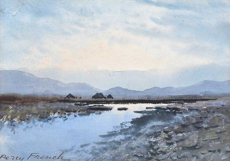 William Percy French - RIVER, TURF STACKS & BOGLANDS, CONNEMARA - Watercolour Drawing - 6.5 x 9