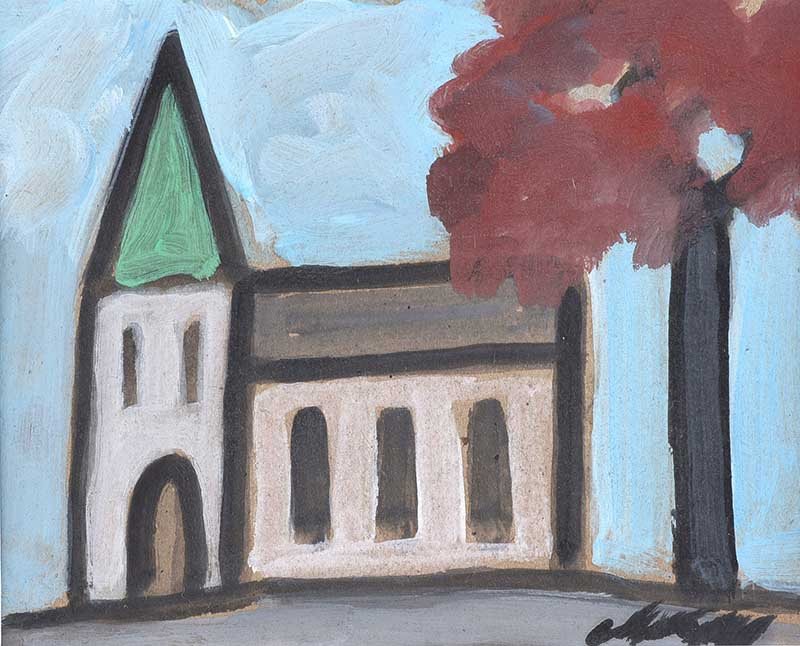 Markey Robinson - THE VILLAGE CHURCH - Gouache on Board - 6 x 8 inches - Signed
