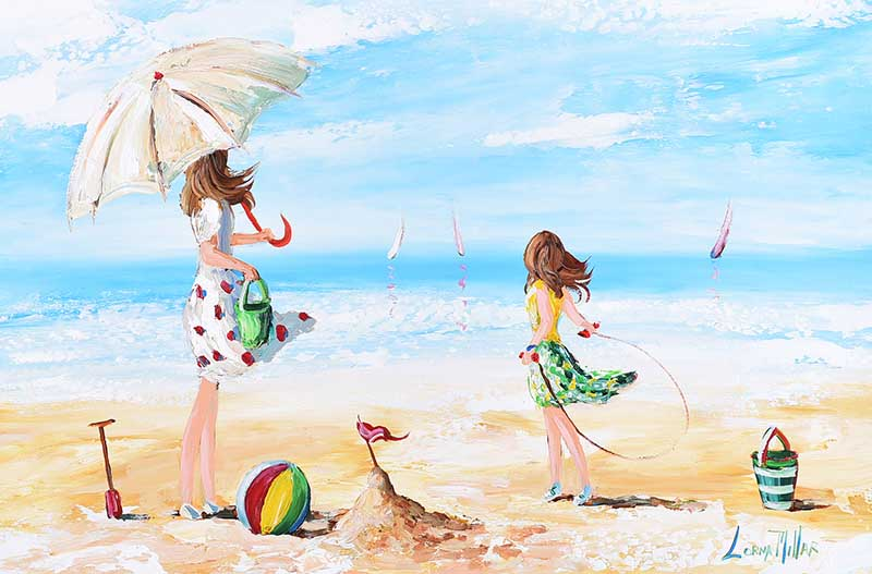 Lorna Millar - FUN AT THE BEACH - Oil on Board - 20 x 30 inches - Signed