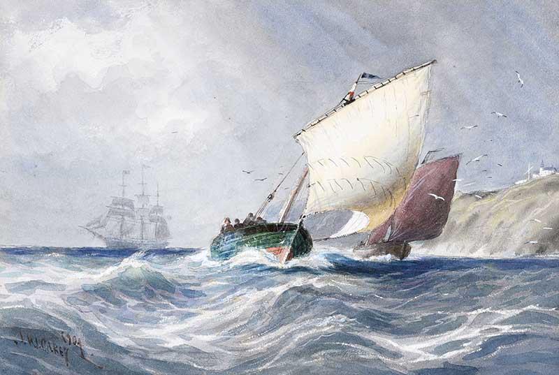 Joseph William Carey, RUA - SAILING OFF WHITEHEAD - Watercolour Drrawing - 7 x 10 inches - Signed