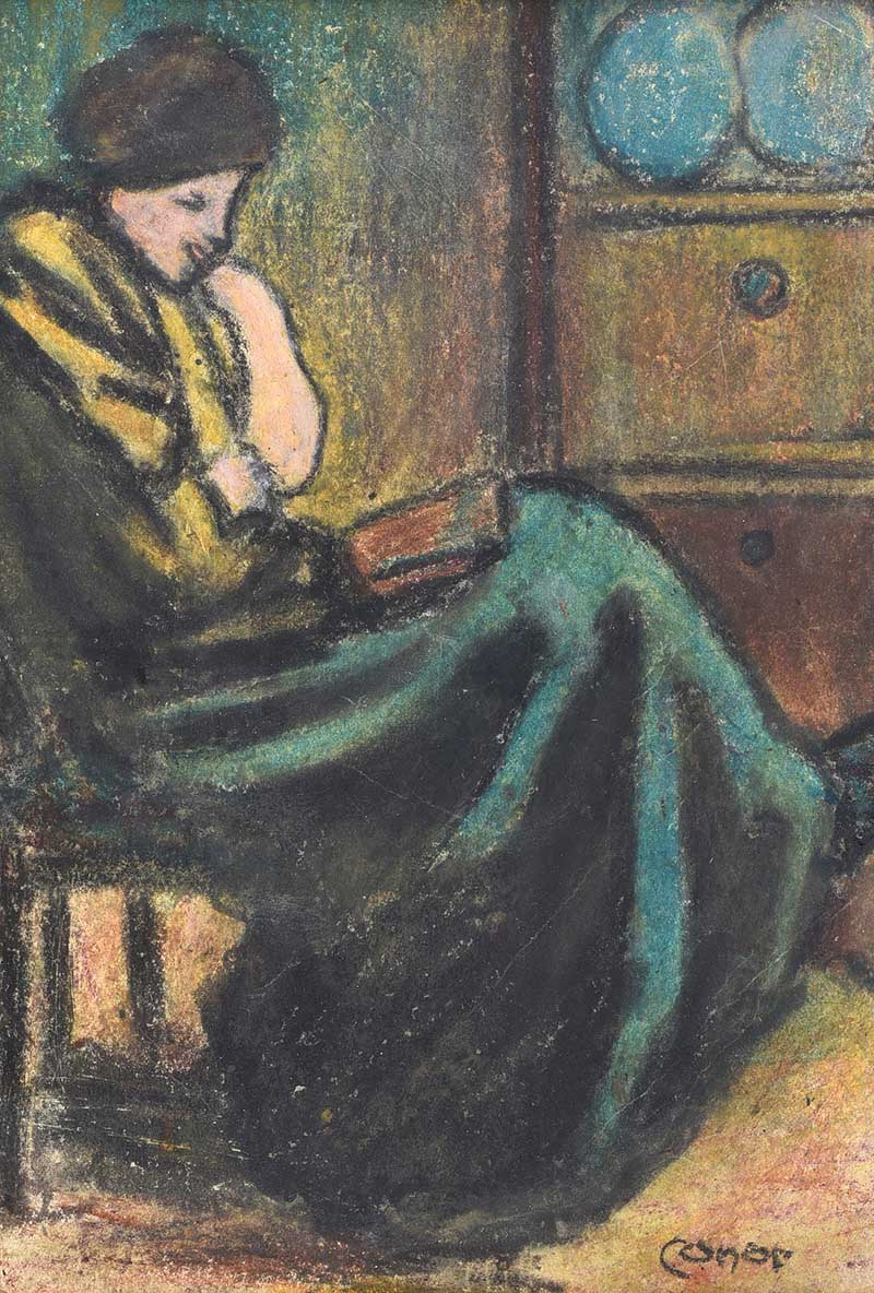 William Conor RHA RUA - A QUIET READ - Wax Crayon on Paper - 11 x 8 inches - Signed