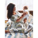 Rowland Davidson - MOTHER & BABY - Acrylic on Canvas - 18 x 14 inches - Signed