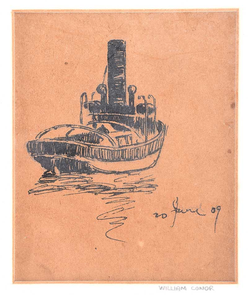 William Conor RHA RUA - BELFAST TUG BOAT - Pen & Ink Drawing on Paper - 6 x 4.5 inches - Signed