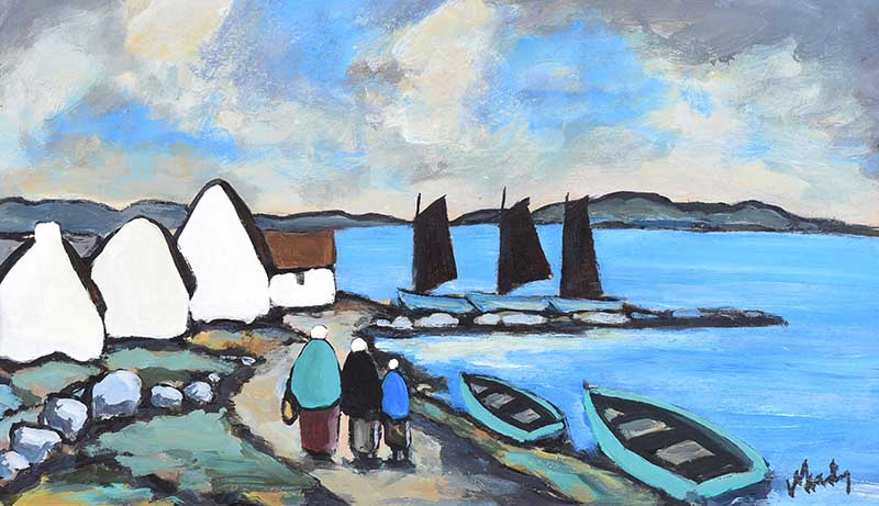 Markey Robinson - VILLAGE ON THE COAST, WEST OF IRELAND - Gouache on Board - 14 x 24 inches -