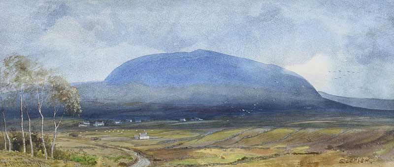 Joseph William Carey RUA - SLEMISH, COUNTY ANTRIM - Watercolour Drawing - 8 x 19 inches - Signed