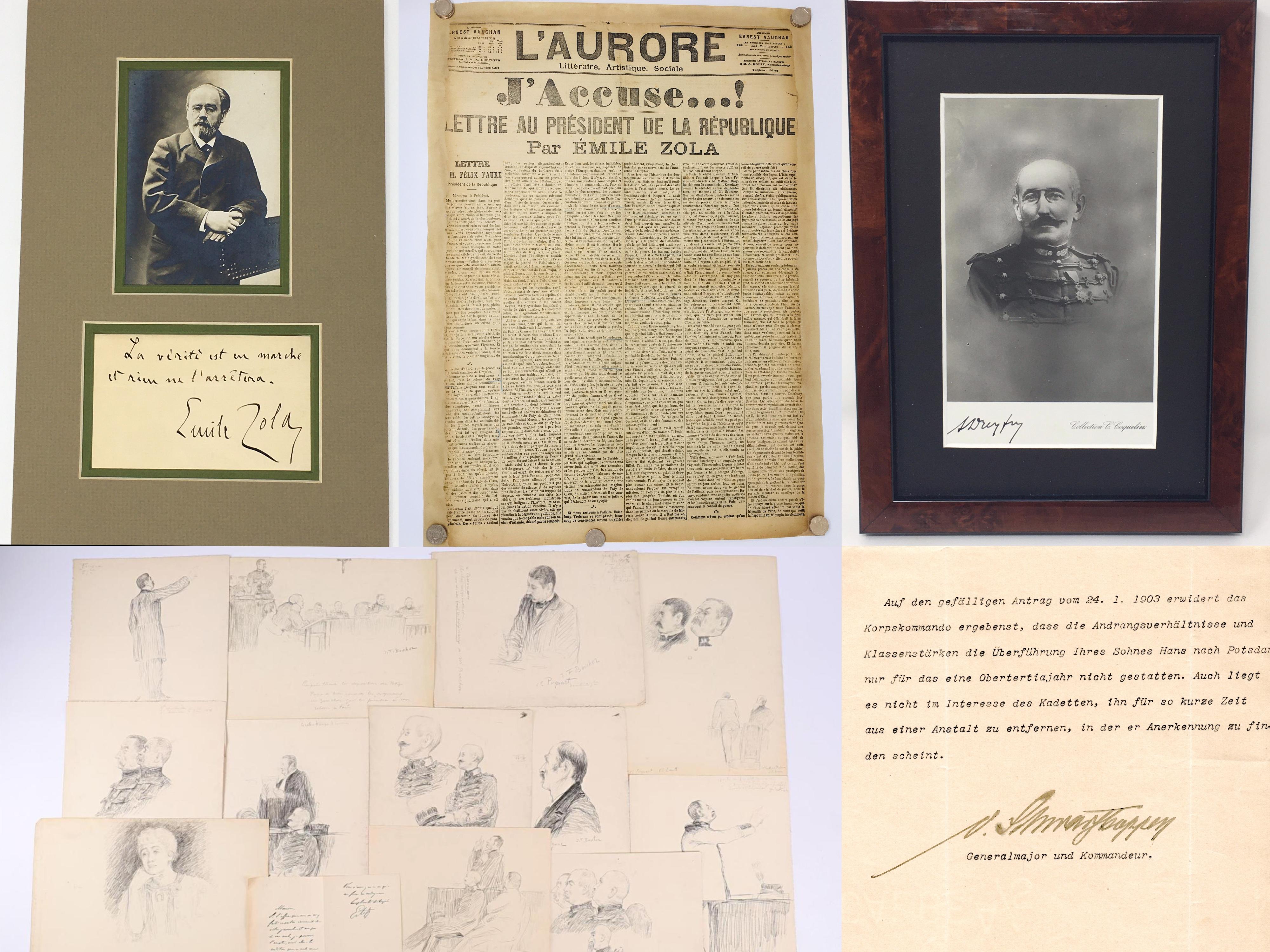 J'Accuse Newspaper, Emile Zola Quote, Signed Dreyfus Portrait, Rare Trial Drawings & Schwartzkoppen