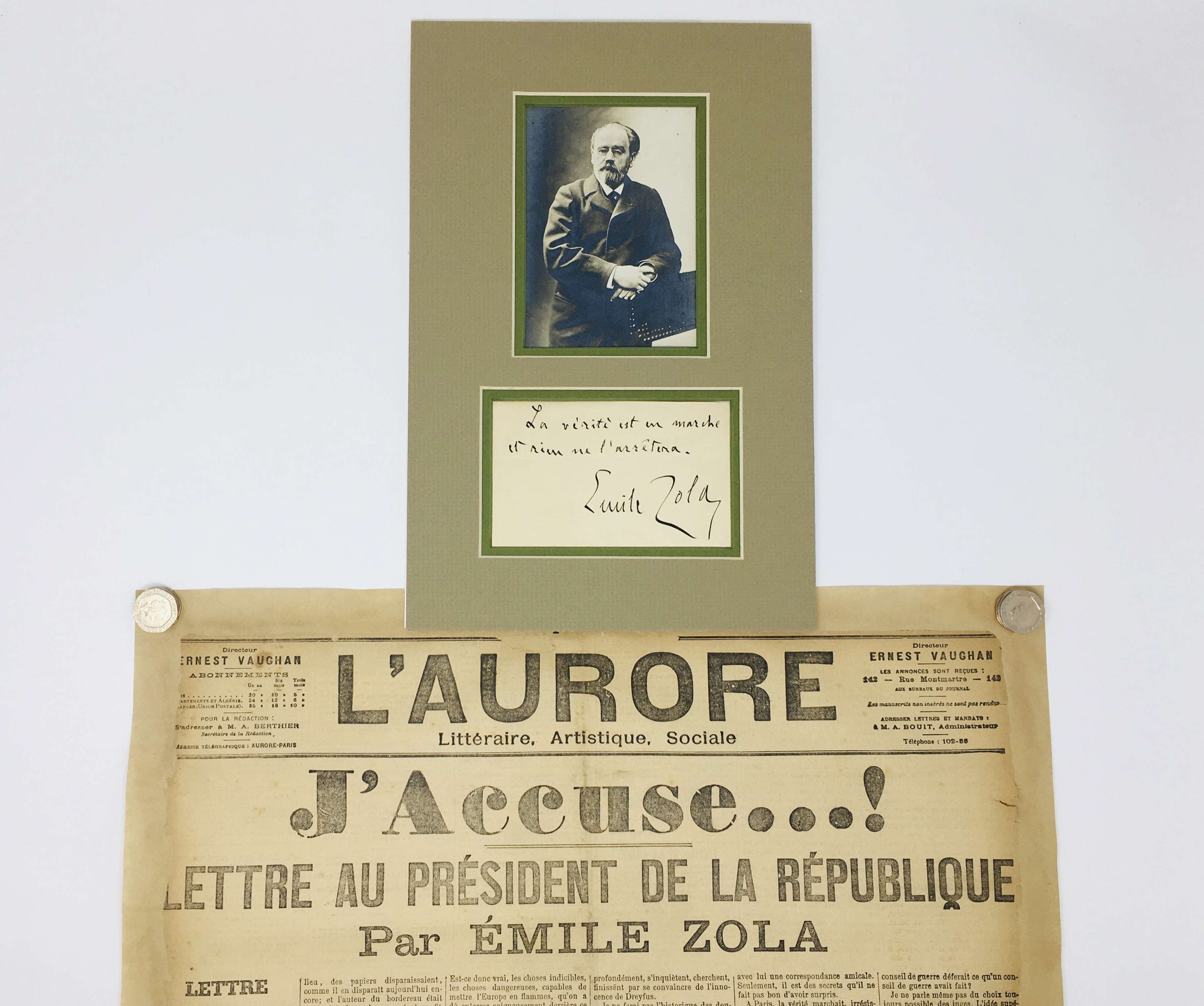 J'Accuse Newspaper, Emile Zola Quote, Signed Dreyfus Portrait, Rare Trial Drawings & Schwartzkoppen - Image 2 of 74