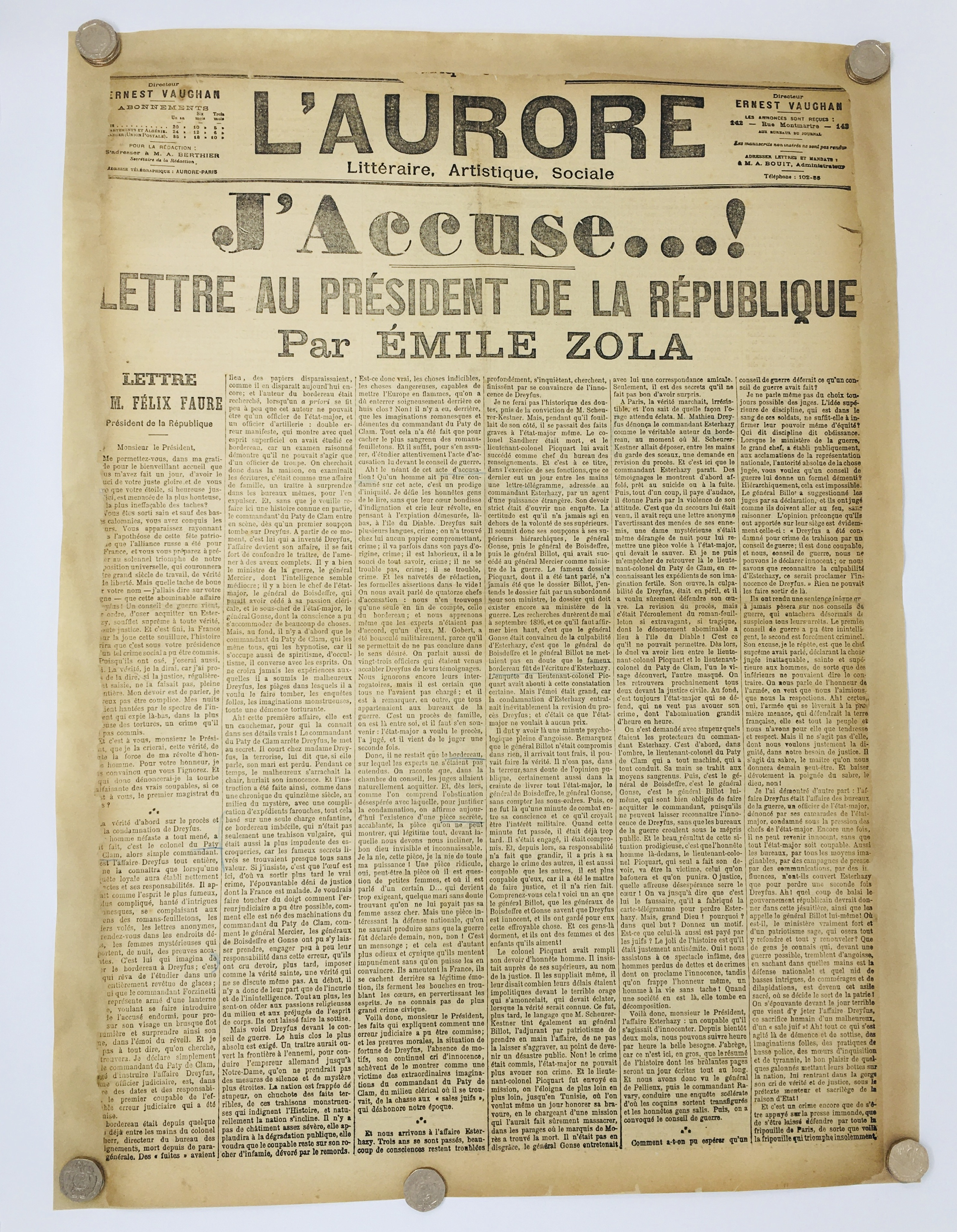 J'Accuse Newspaper, Emile Zola Quote, Signed Dreyfus Portrait, Rare Trial Drawings & Schwartzkoppen - Image 3 of 74