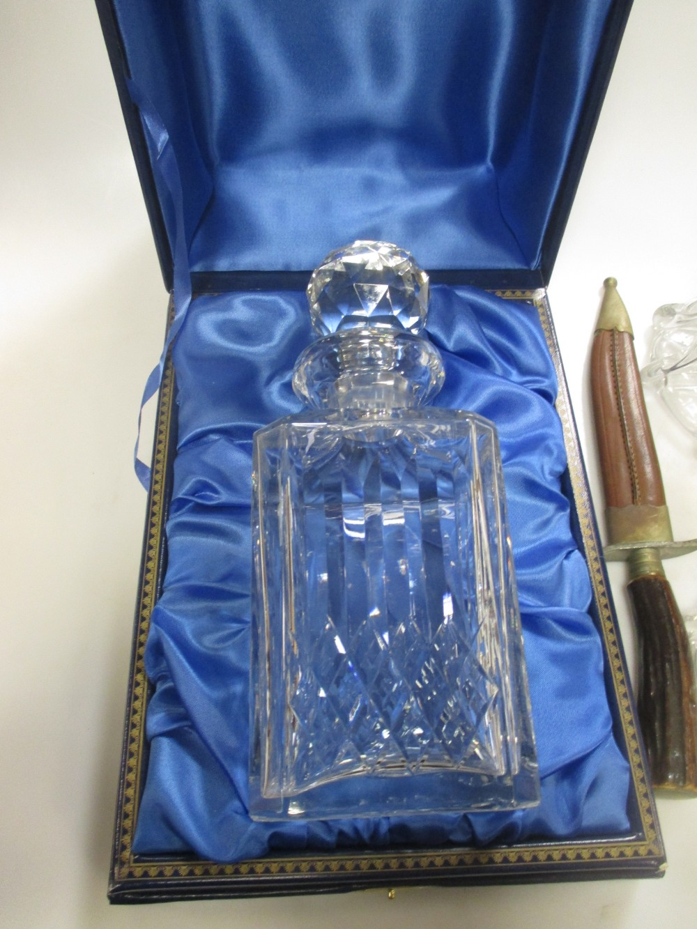 Lot 234 - A pair of early 20th century glass decanters and a modern Thomas Webb decanter and a souvenir