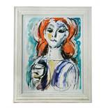 Paul Gerchik (American, 1913-1998), Girl with Wine Glass, signed, acrylic and gouache, 60 x 50cm