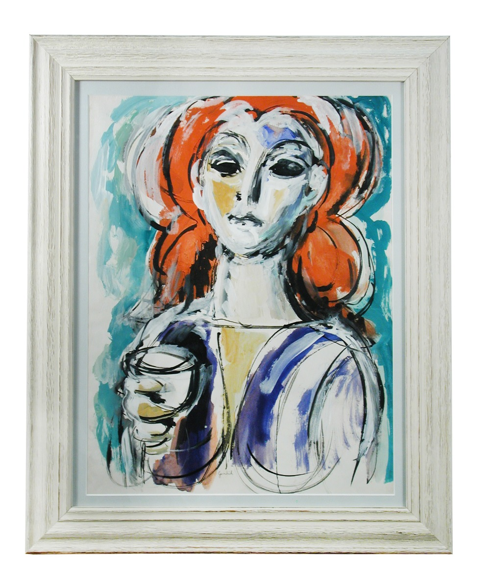 Lot 106 - Paul Gerchik (American, 1913-1998), Girl with Wine Glass, signed, acrylic and gouache, 60 x 50cm