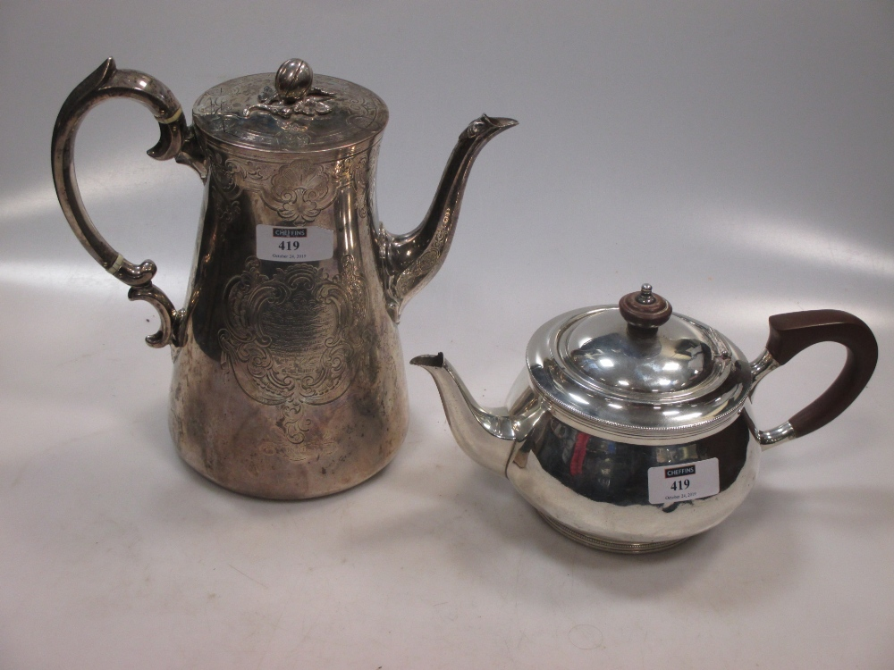 A Victorian silver coffee pot, together with a silver teapot 36.7ozt gross (2)