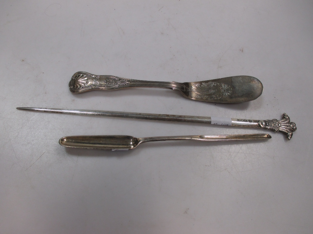 A marrow scoop, a 19th century fish slice and a Prince of Wales feather top meat skewer (3)