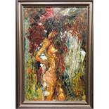 Manner of John Bratby RA (1928-1992), Standing nude, oil on board, signed indistinctly lower