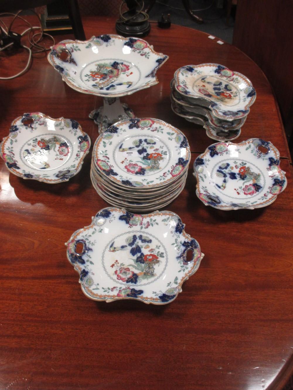 "Lot 266 - A Victorian stoneware part dessert service, ""Persiana"", comprising 17 pieces some A/F"