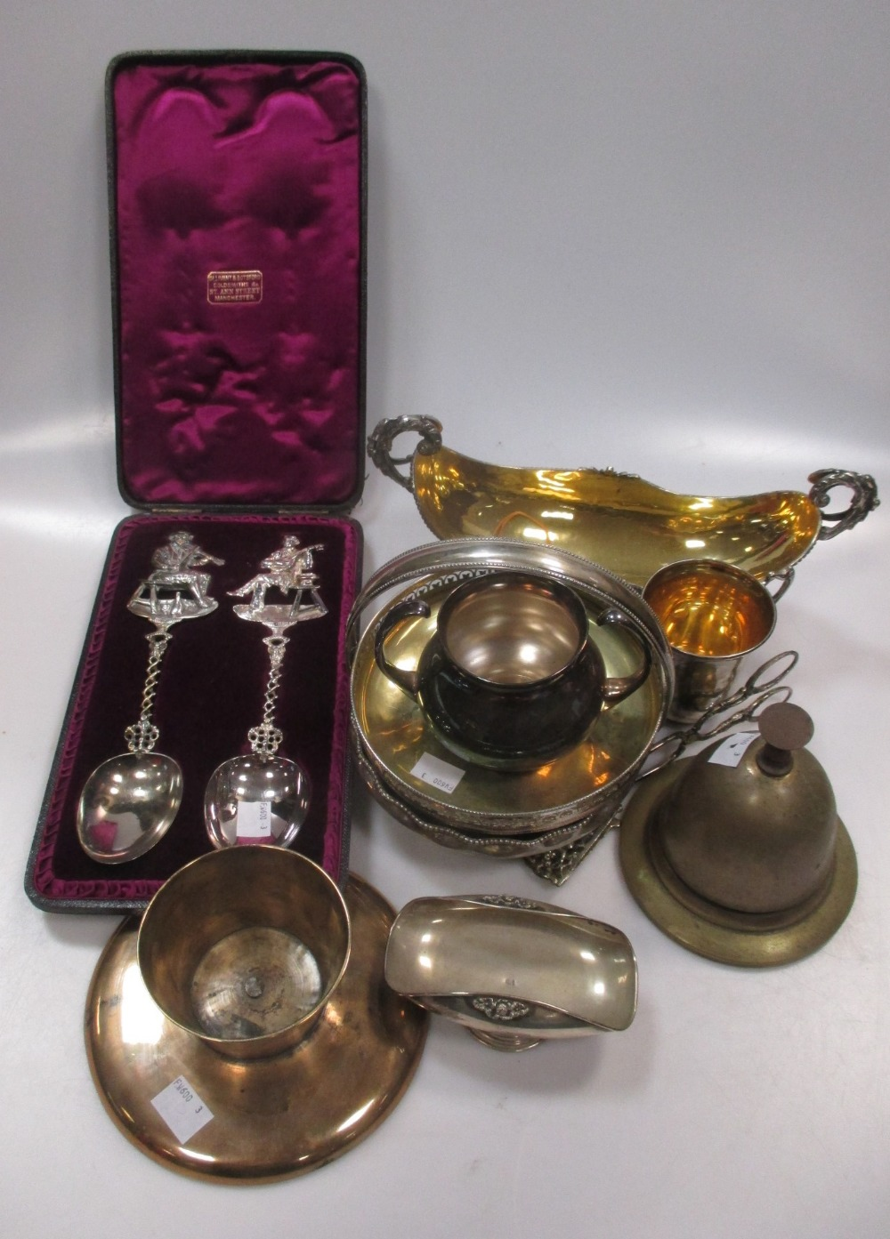 A collection of Continental silver items together with some silver plate and brass
